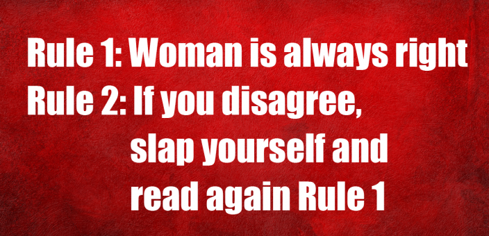 Woman is right