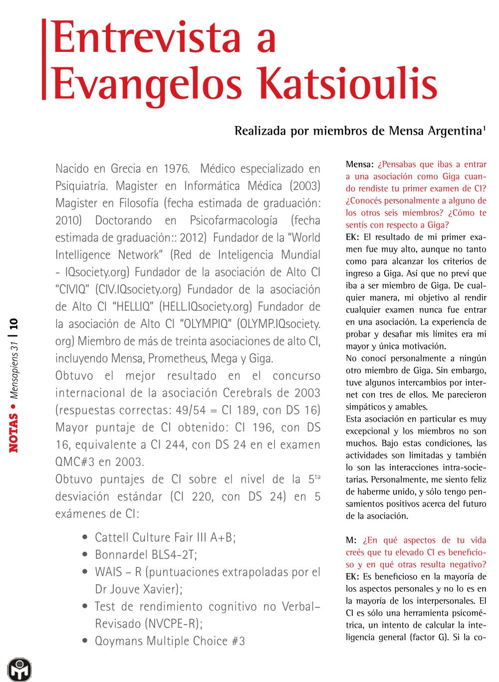 Dr Katsioulis on MenSapiens, 2010