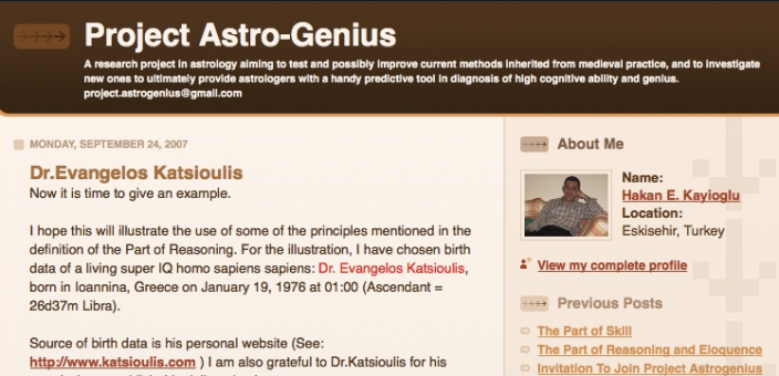 Dr Katsioulis on Astro-Genius (2007)